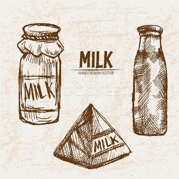 Digital vector detallado línea arte leche Foto stock © frimufilms