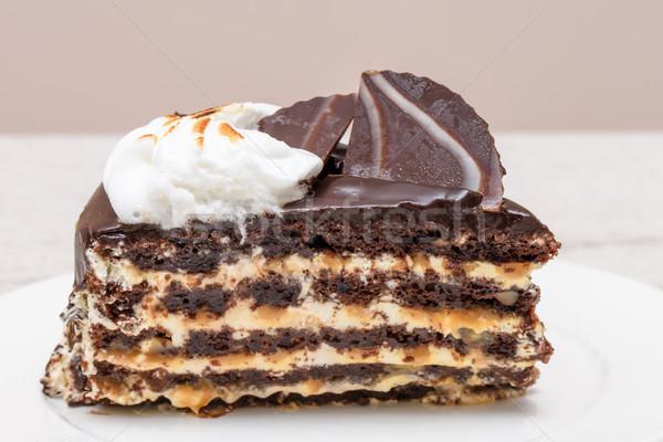 Pure chocola cake plakje witte room noten Stockfoto © frimufilms