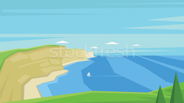 Digitális vektor absztrakt tenger csónak víz Stock fotó © frimufilms