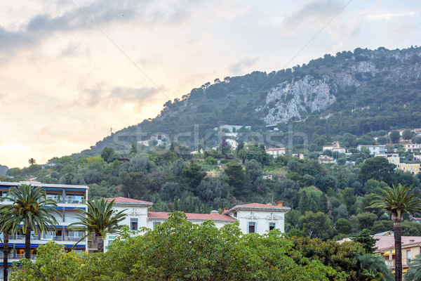 Beautiful sunset view to Beaulieu sur mer city colorful buidling Stock photo © frimufilms