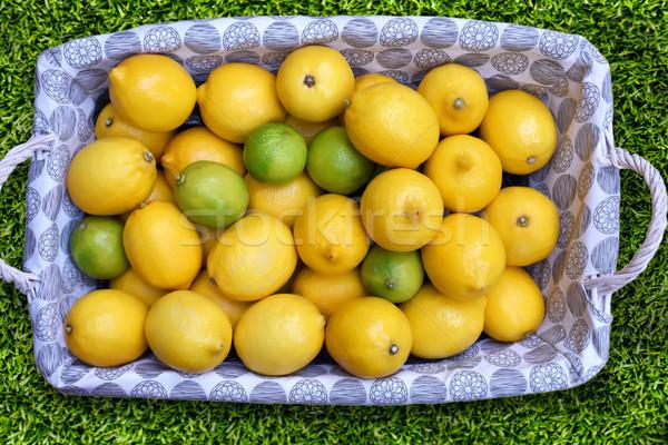 Friss aratás citromsárga zöld érett citrom Stock fotó © frimufilms
