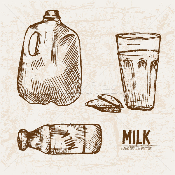 Digital vector detailed line art fresh milk Stock photo © frimufilms