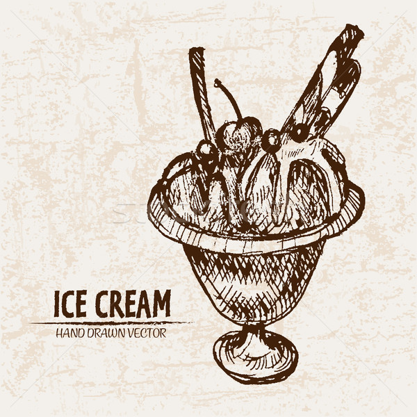 Digital vector detailed line art ice cream Stock photo © frimufilms