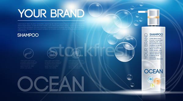 Foto d'archivio: Digitale · vettore · argento · shampoo · blu