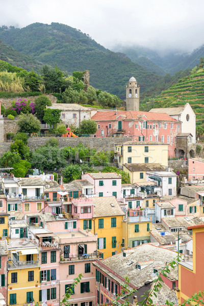 View to city, belltower and green mountains of Vernazza Stock photo © frimufilms