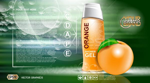 Digital vector orange and green shower gel Stock photo © frimufilms