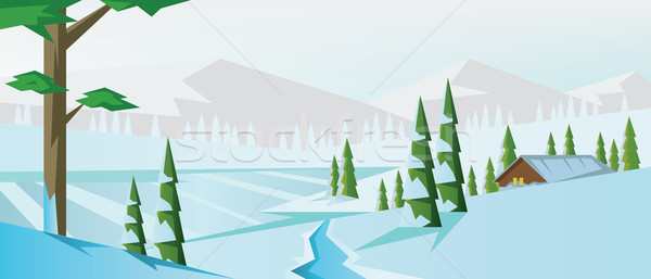 Digital vector abstract background with winter Stock photo © frimufilms