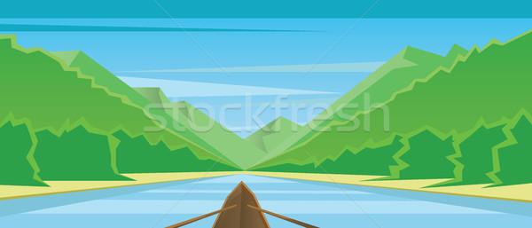 Digitális vektor absztrakt csónak barna folyó Stock fotó © frimufilms