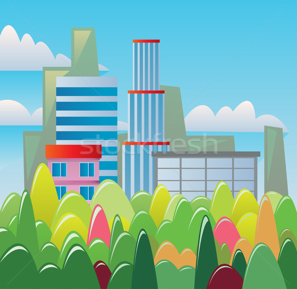 Stockfoto: Digitale · vector · abstract · gebouwen · bos