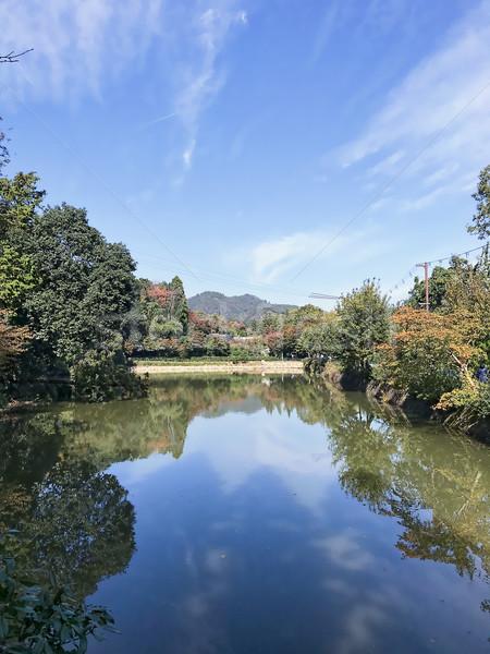 Belo ver azul lago verde Foto stock © frimufilms