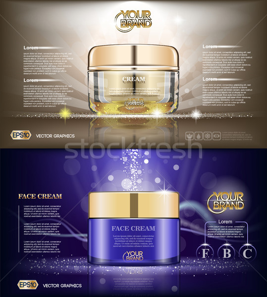 Digital vector glass face cream brown and purple Stock photo © frimufilms