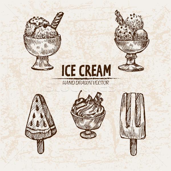 Dijital vektör ayrıntılı hat sanat dondurma Stok fotoğraf © frimufilms