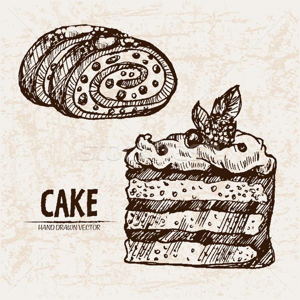 Dijital vektör ayrıntılı hat sanat kek Stok fotoğraf © frimufilms