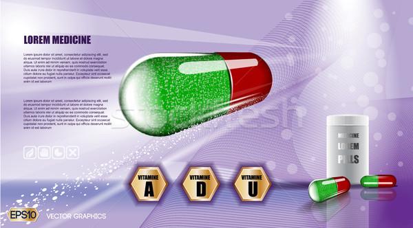 Digital vetor verde vermelho medicina pílula Foto stock © frimufilms