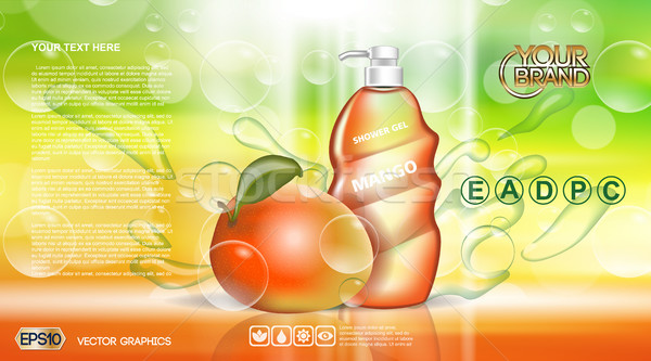 Stockfoto: Digitale · vector · Rood · groene · douche · gel