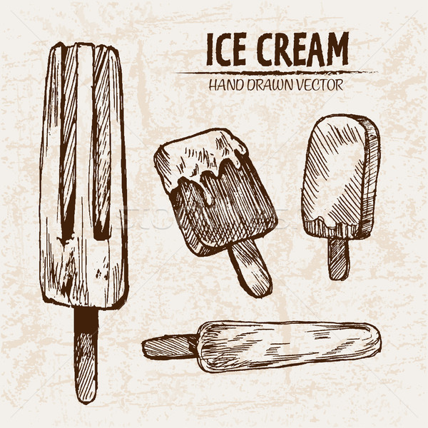 Digital vector detailed line art juicy ice cream Stock photo © frimufilms