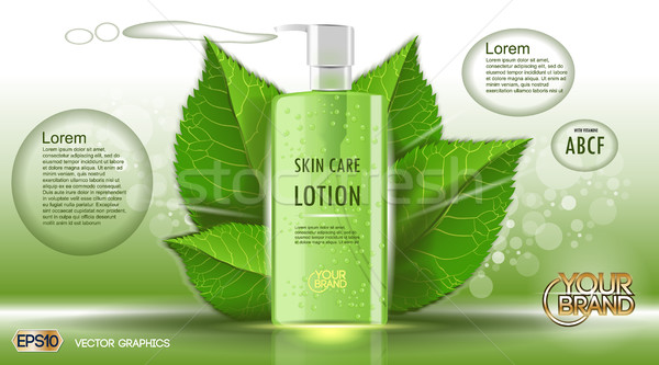 Digital vector green glass skin care lotion Stock photo © frimufilms