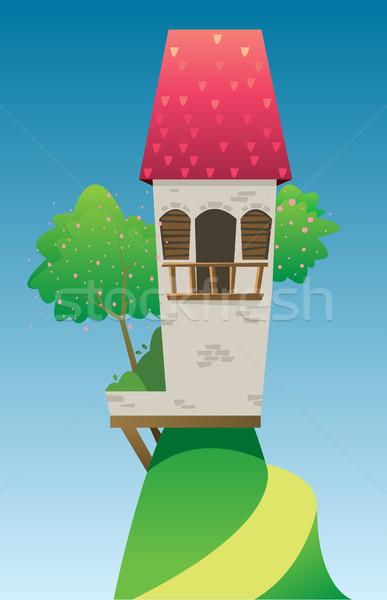 Digitale vector sprookje fantasie kasteel Rood Stockfoto © frimufilms