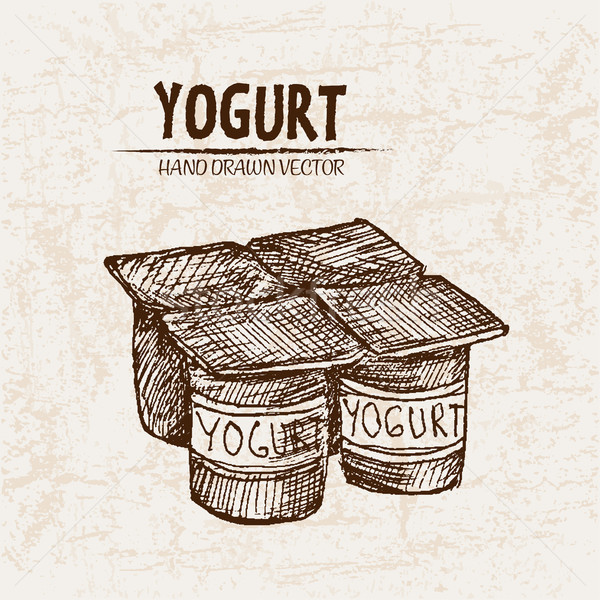 Digital vector detallado línea arte yogurt Foto stock © frimufilms