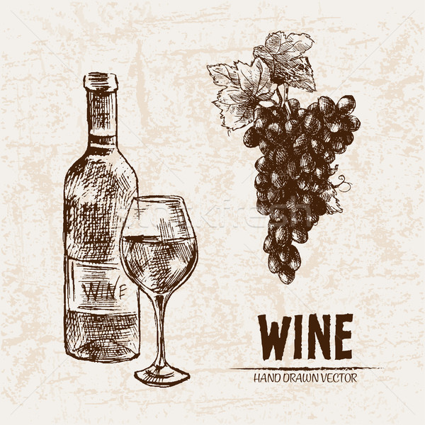 Digital vector detailed line art wine Stock photo © frimufilms