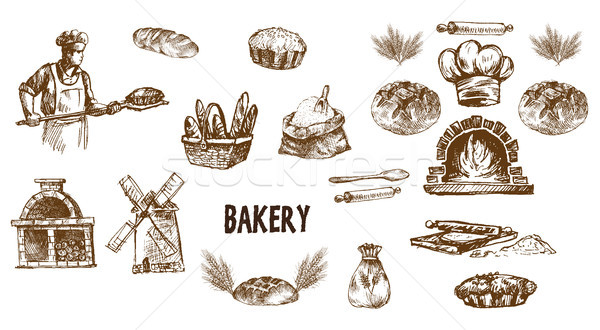 Digital vector detailed line art bakery Stock photo © frimufilms