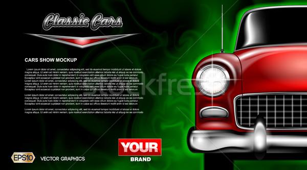 Digital vetor vermelho velho clássico carro Foto stock © frimufilms