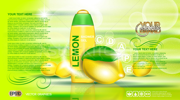Digital vector yellow and green shower gel Stock photo © frimufilms