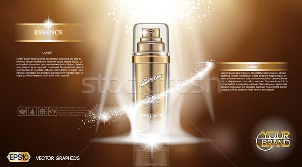 Digitalen Vektor golden Glas Flasche Spray Stock foto © frimufilms