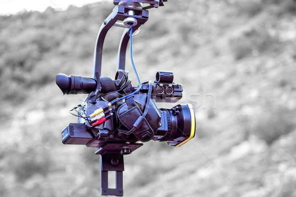 Tv kamera vinç yalıtılmış siyah beyaz iş Stok fotoğraf © frimufilms