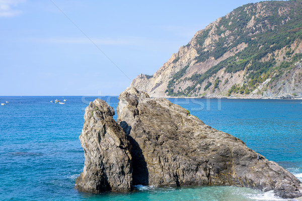 Daylight sunny day view to blue sea, rock in water and green mou Stock photo © frimufilms