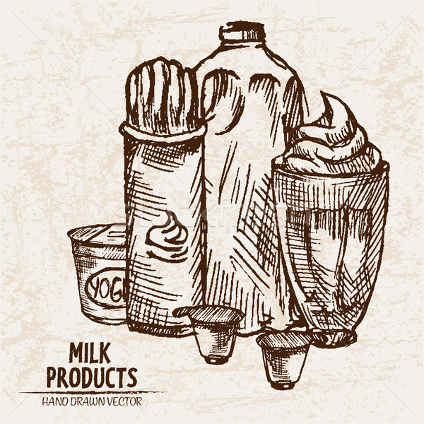 Digital vector detailed line art milk products Stock photo © frimufilms