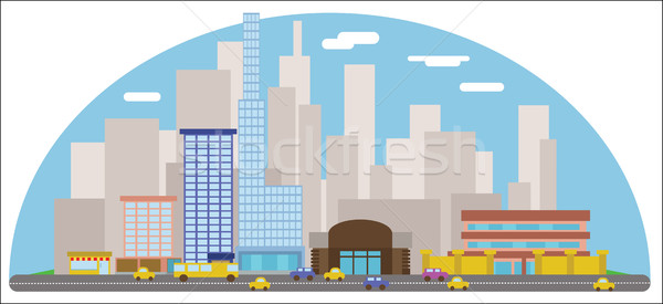 Digital vector abstract background with cityscape Stock photo © frimufilms