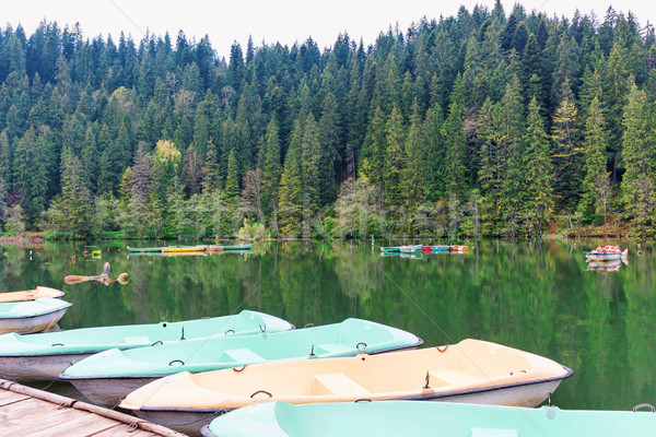 Boats at wooden relaxing area on the sovata lake Stock photo © frimufilms