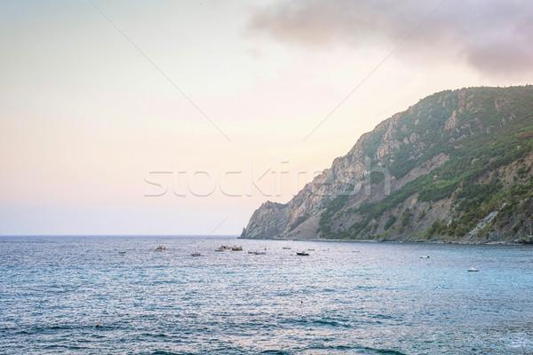 Naplemente kilátás kék víz zöld hegyek Stock fotó © frimufilms
