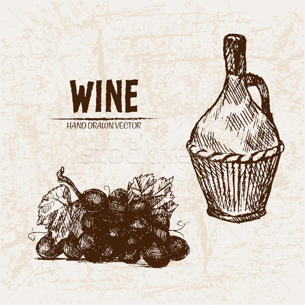 Dijital vektör ayrıntılı hat sanat şarap Stok fotoğraf © frimufilms