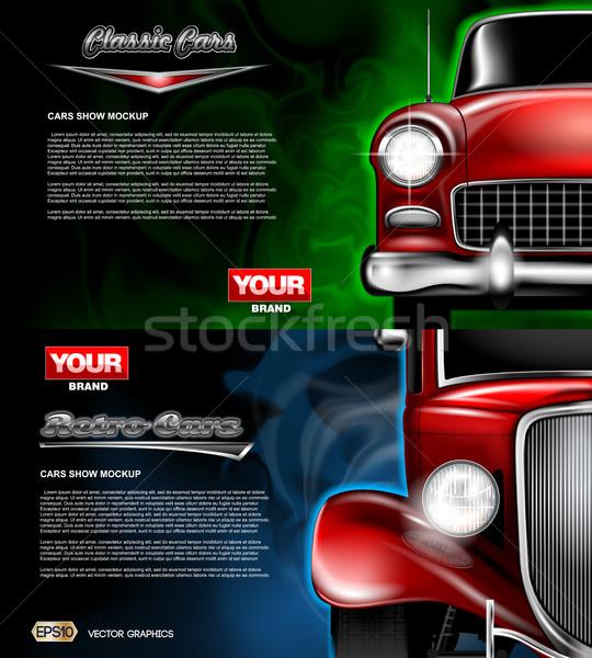 Dijital vektör kırmızı eski Retro araba Stok fotoğraf © frimufilms
