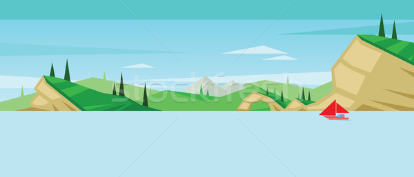 Digital vector abstract background with a red boat Stock photo © frimufilms