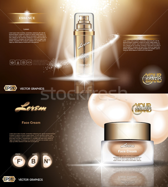 Digitale vector gouden glas fles spray Stockfoto © frimufilms