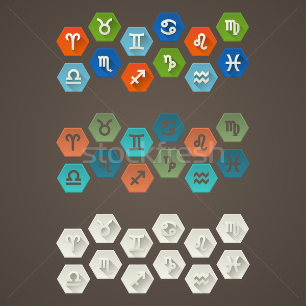 Stock photo: Flat Signs of The Zodiac