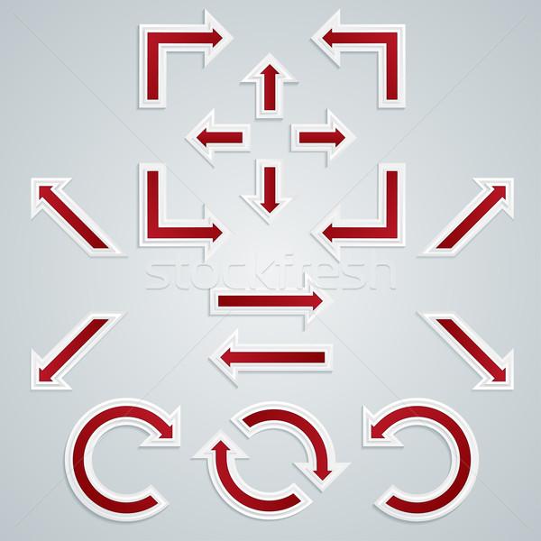 Сток-фото: набор · красный · острый · Стрелки · Инфографика · различный