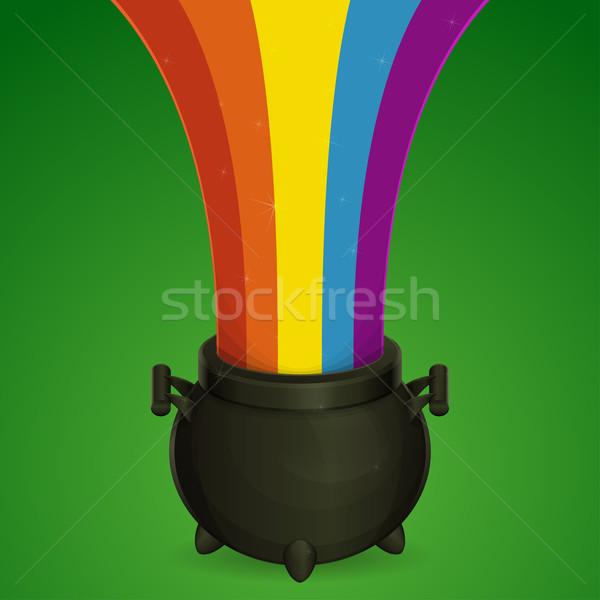 котелок радуга черный зеленый из Сток-фото © frostyara
