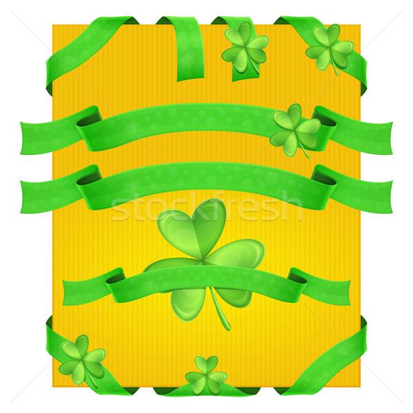 Decorativo shamrock fita verde amarelo Foto stock © frostyara