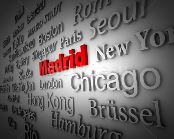 Metropolis Madrid demonstratie groot steden 3D Stockfoto © froxx