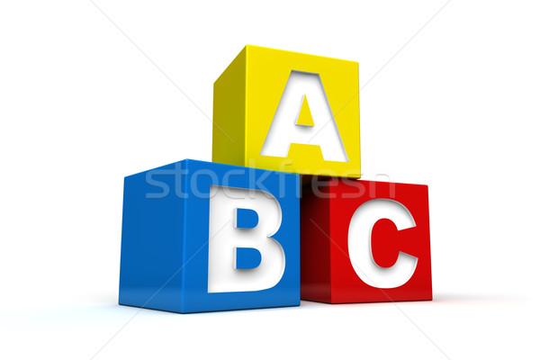 Alfabe bloklar harfler oyuncak öğrenme basit Stok fotoğraf © froxx