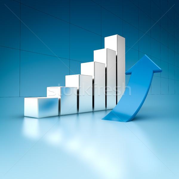 Succes grafiek business charts pijl 3d illustration Stockfoto © froxx