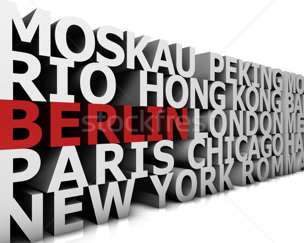 Világváros Berlin demonstráció nagy városok 3D Stock fotó © froxx