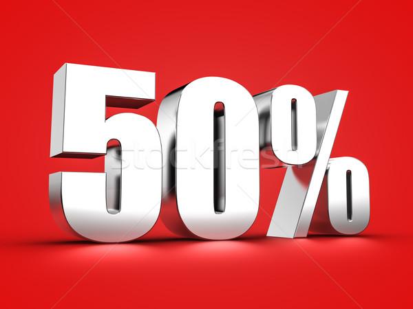 50 százalék felirat 3D renderelt kép ötven Stock fotó © froxx