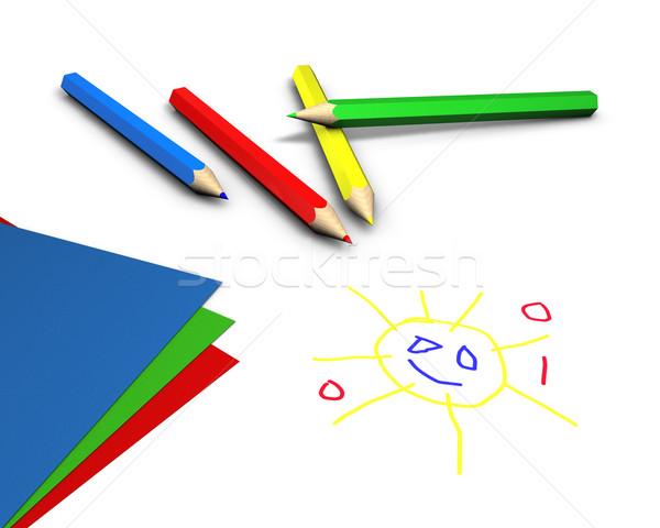 Vernice colore matite carta bianco tavola Foto d'archivio © froxx