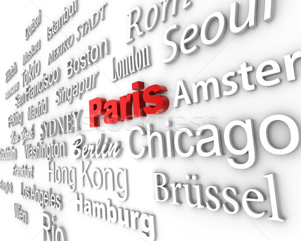 Világváros Párizs demonstráció nagy városok 3D Stock fotó © froxx