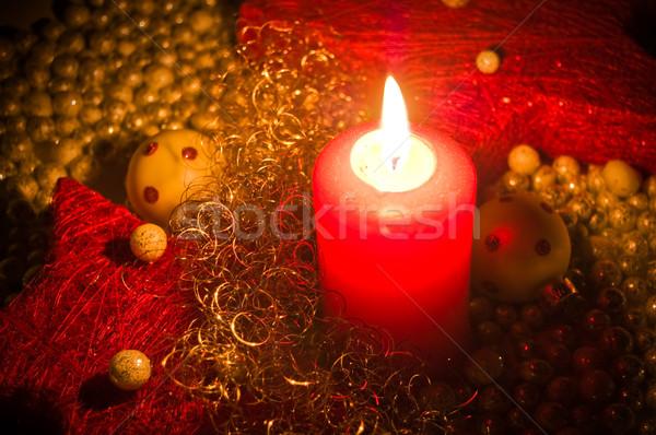 Primo avvento rosso candela Natale decorazione Foto d'archivio © froxx